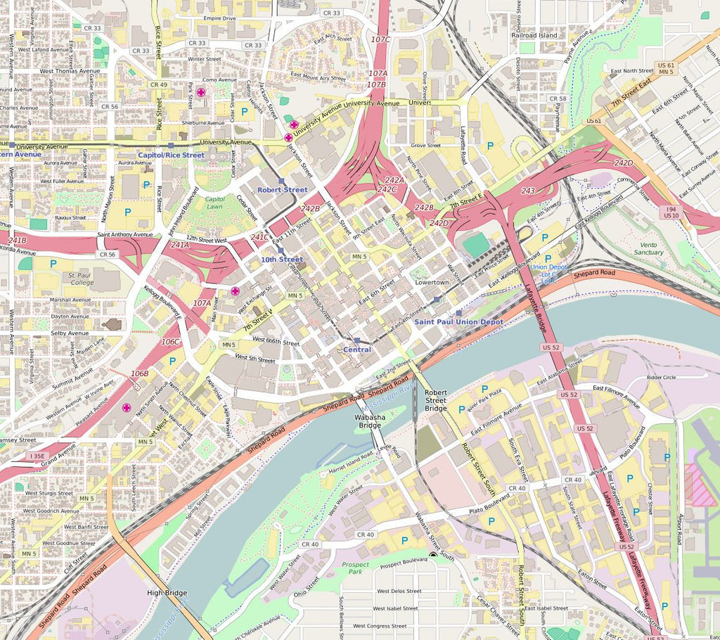 Editable City Map of Saint Paul, Mi