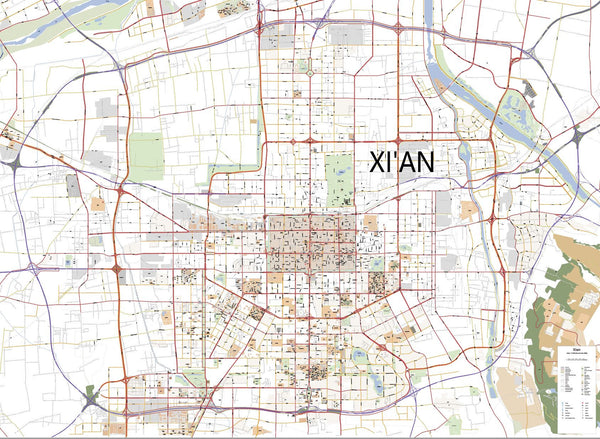 Editable City Map of Xian incl. English Street Names