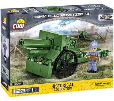 155mm Field Howitzer 1917 ('C17S') - WWI kit COBI 2981 - 122 brick artillery weapon - BRICKTANKS