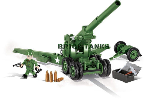 155mm Gun M1 ('Long Tom') - Lego compatible COBI 2394 - 200 brick artillery weapon - BRICKTANKS
