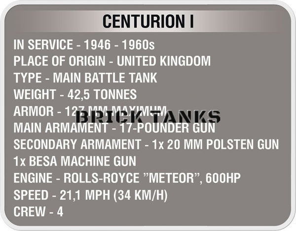 Centurion I ('World of Tanks') - Lego compatible COBI 3010 - 610 brick battle tank