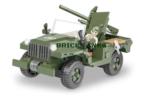 37mm GMC M6 Fargo - Lego compatible WW2 kit COBI 2387 - 250 brick anti-tank gun - BRICKTANKS