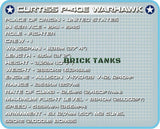 Curtiss P40E Warhawk - COBI 5706 - 265 brick fighter aircraft - BRICKTANKS