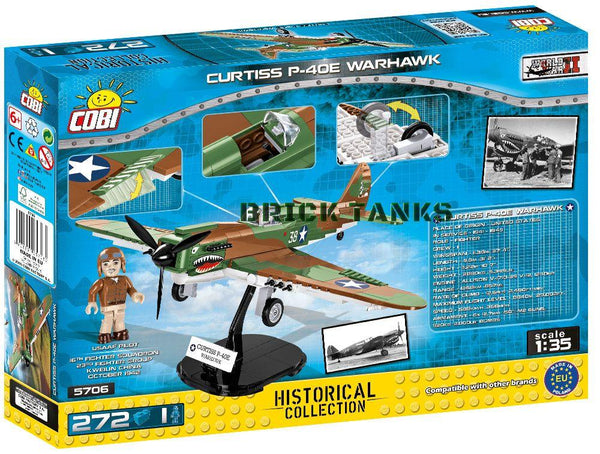 Curtiss P40E Warhawk - Lego compatible COBI 5706 - 265 brick fighter aircraft - BRICKTANKS