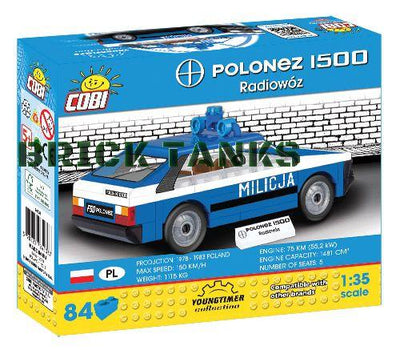 FSO Polonez Police Car (Youngtimer Collection) - COBI 24533 - 84 brick car - BRICKTANKS
