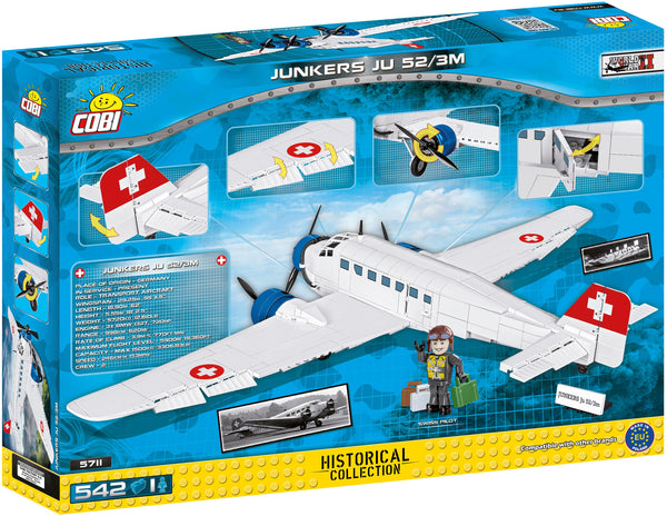Junkers JU-52 (Red Cross) - Lego compatible COBI 5711 - 501 brick transport aircraft - BRICKTANKS