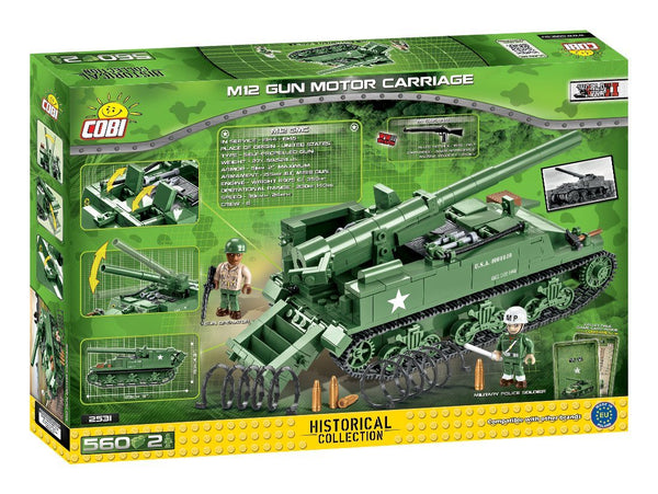 M12 GMC - Lego compatible COBI 2531 - 560 brick self-propelled gun - BRICKTANKS