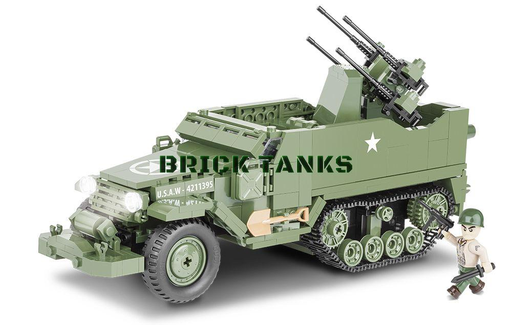M16 Half-track - Lego compatible COBI 2499 - 500 brick half-track anti-aircraft gun - BRICKTANKS