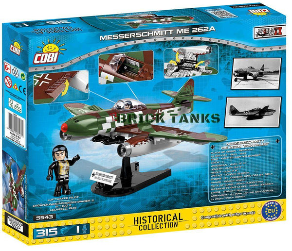 Messerschmitt ME 262A Schwalbe - Lego compatible COBI 5543 - 315 brick fighter aircraft - BRICKTANKS
