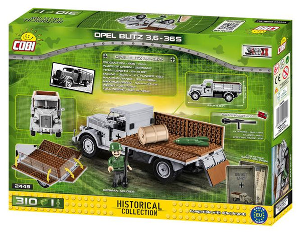Opel Blitz 3T (4x2) - Lego compatible COBI 2449A - 310 brick military transport - BRICKTANKS