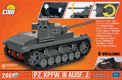 Panzer III ('World of Tanks') - COBI 3062 - 285 brick medium tank - BRICKTANKS