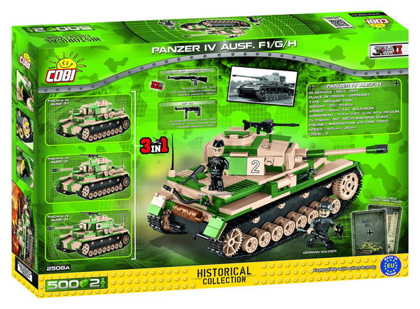 Panzer IV Ausf.F1/G/H - Lego compatible COBI 2508A - 500 brick medium tank - BRICKTANKS