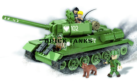 T34/85 RUDY - Lego compatible COBI 2486A - 530 brick medium tank - BRICKTANKS
