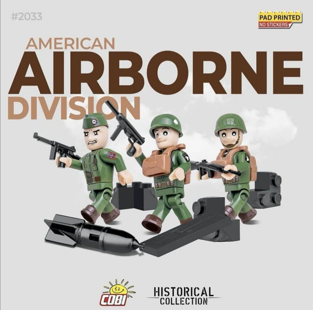 US First Airborne Division troops soldiers (3) - Lego compatible COBI 2033 - 26 brick figurines - BRICKTANKS