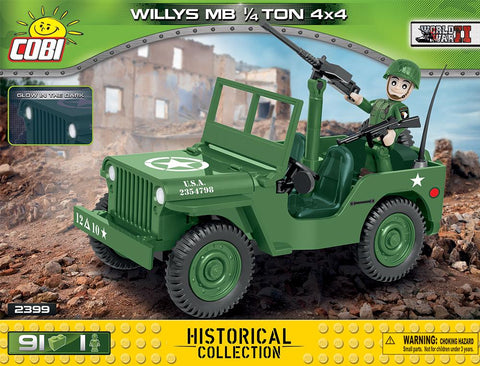 Willys MB ¼ Ton 4 x 4 - Lego compatible COBI 2399 - 91 brick light vehicle - BRICKTANKS