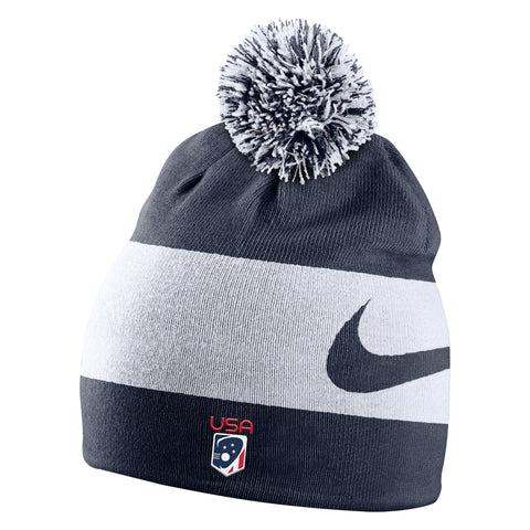 Team USA Swoosh Stripe Pom Beanie