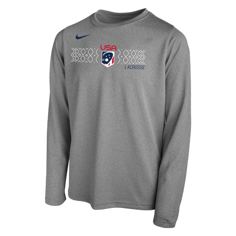 Youth Boy's USA Grid Nike Dri-FIT Legend Long Sleeve Tee