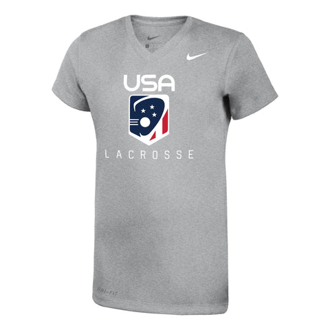 Youth Girls USA Lacrosse Gray Nike Shirt