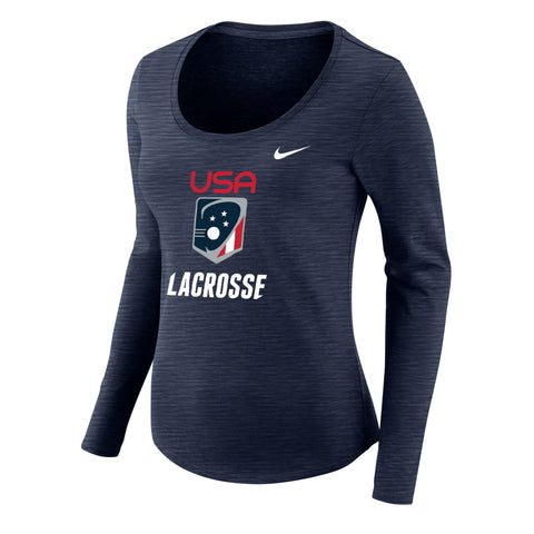 Women's Team USA Nike Dry Slub Long Sleeve Scoop T-shirt