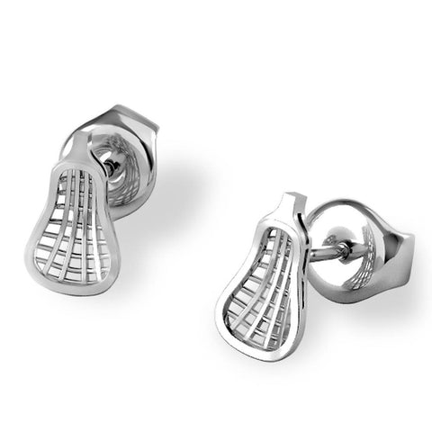 Traditional Lacrosse Head Stud Earrings