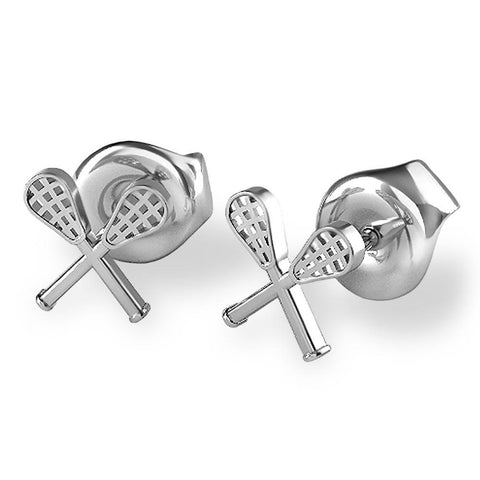 Crossed Lacrosse Sticks Stud Earrings