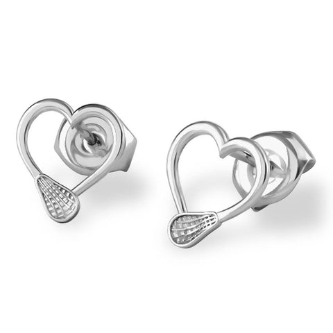 Lacrosse Women's Stick Hearts Stud Earrings