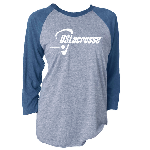 Adult's US Lacrosse Triblend 3/4 Sleeve Baseball Tee