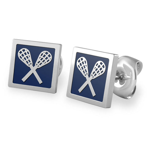 Quadrato Lacrosse Stud Earrings