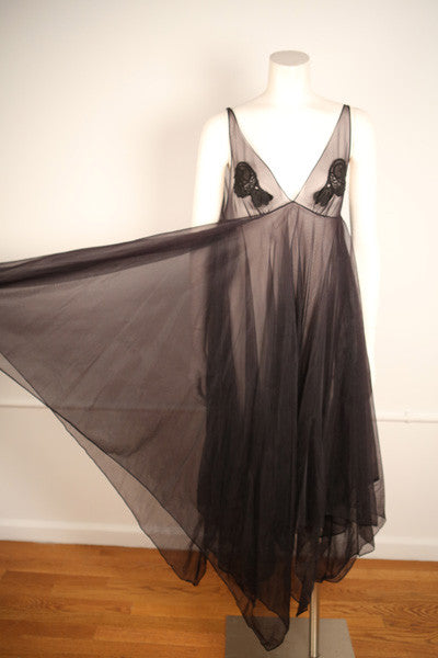 D144- 1970s Black Nylon Handkerchief Dress (Sheer)
