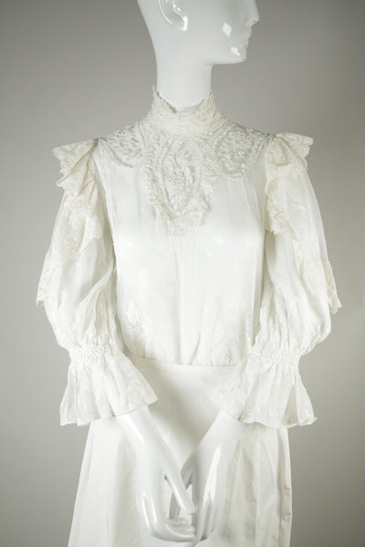 T064- Edwardian Cotton Wedding Blouse
