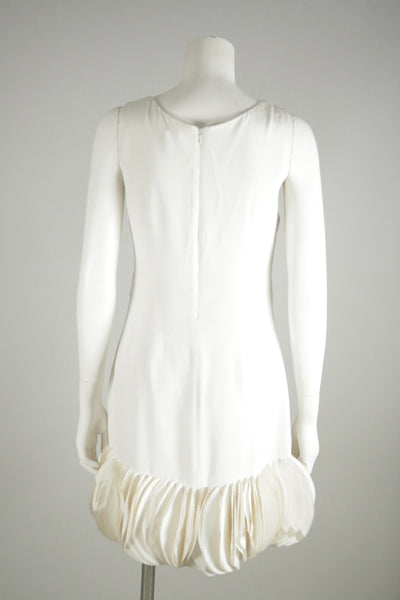 vintage dress white short ruffles silk wantington