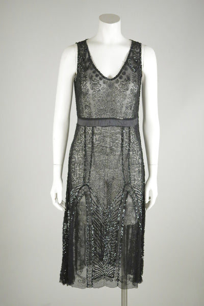Deco vintage dress black beaded 1920s wantington