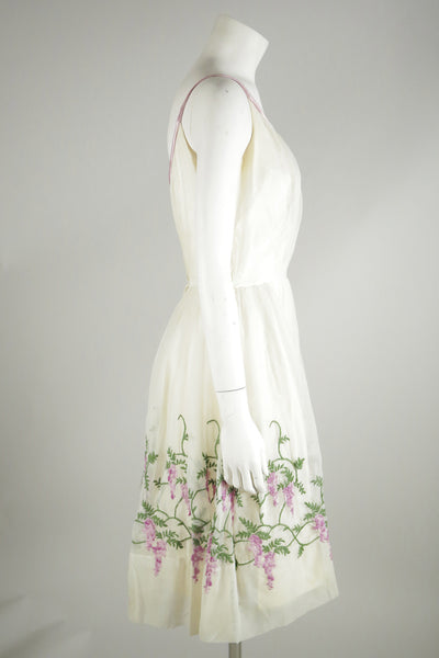 vintage dress white embroidery 1950s wantington
