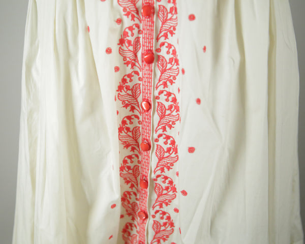 vintage dress red and white embroidered 1950s sundress wantington