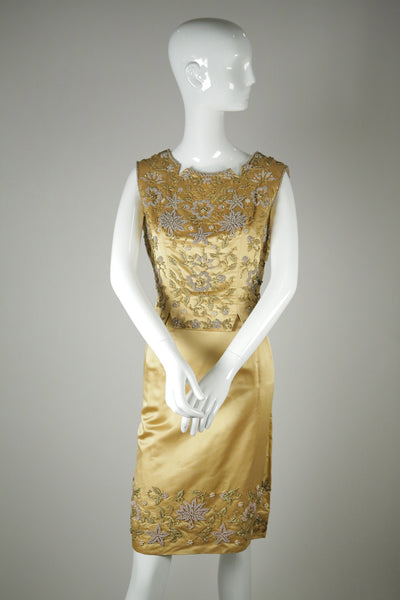 vintage dress gold beaded satin 1960s two-piece wantington