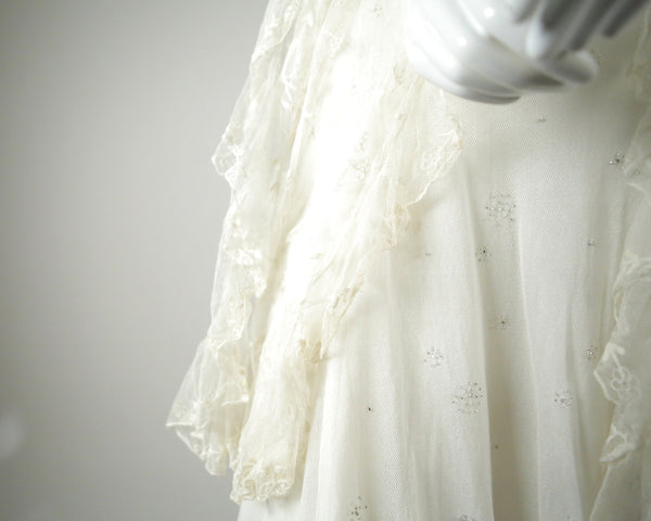 D041- Hand-beaded Cotton Tulle Wedding Dress