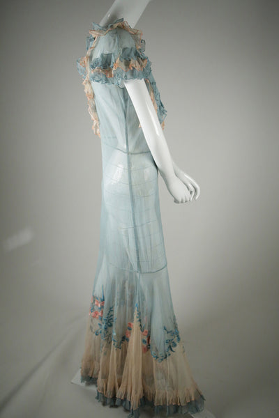 D043- Stunning 1930s Embroidered Two-Toned Silk Tulle Dress