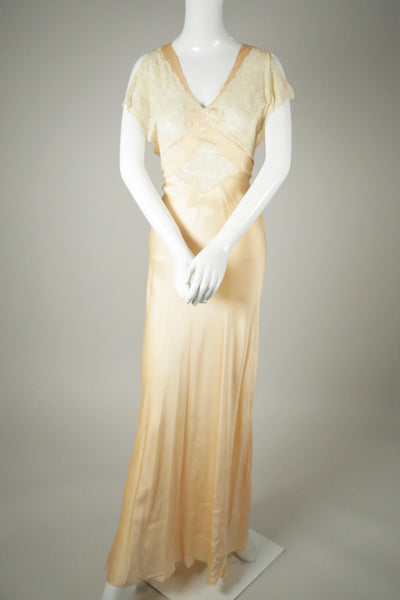 D045- 1930s Silk and Lace Bias Slip