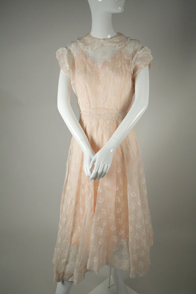 D049- 1950s Pink Embroidered Silk Organza Dress