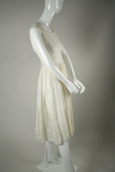 D050- 1950s Cotton Voile Tea Dress