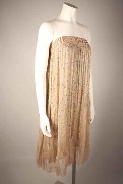 D080 - Contemporary Nude Beaded Strapless Dress