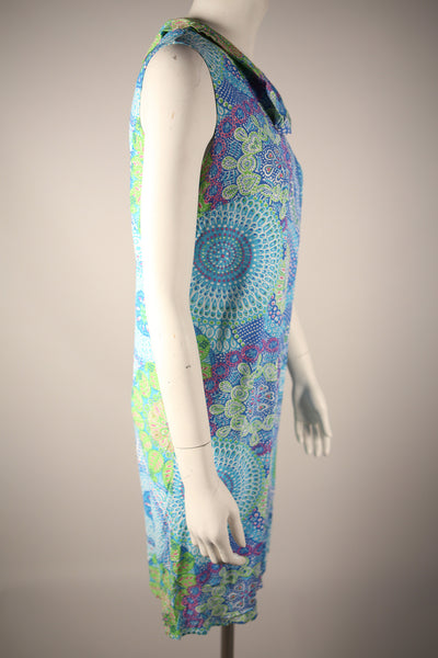 D083 - 1970s Multi-Colored Paisley Shift Dress