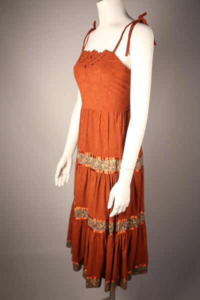 D085 - 1970s Suede Peasant Dress