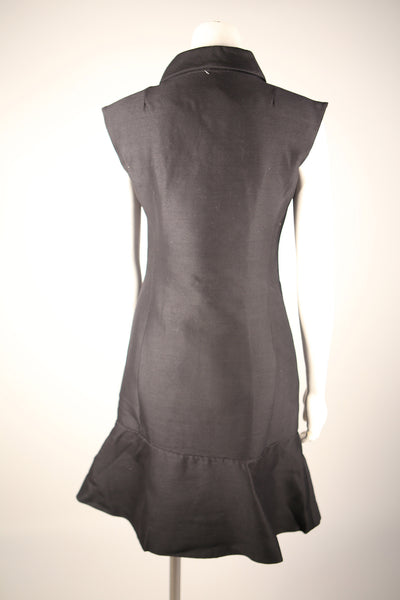 D092 - 1960s Double Breasted Black Mini Dress
