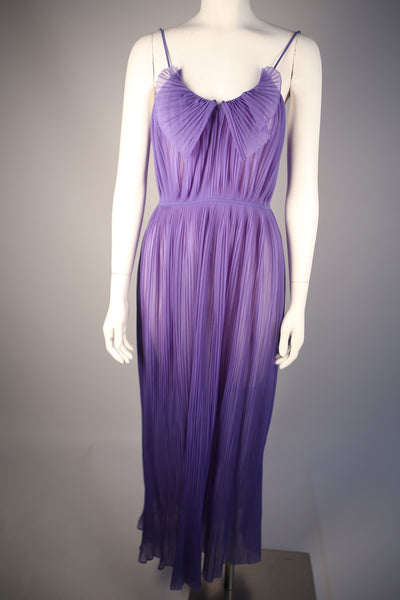 D103 - Purple 1970s Dress with Pleated Collar