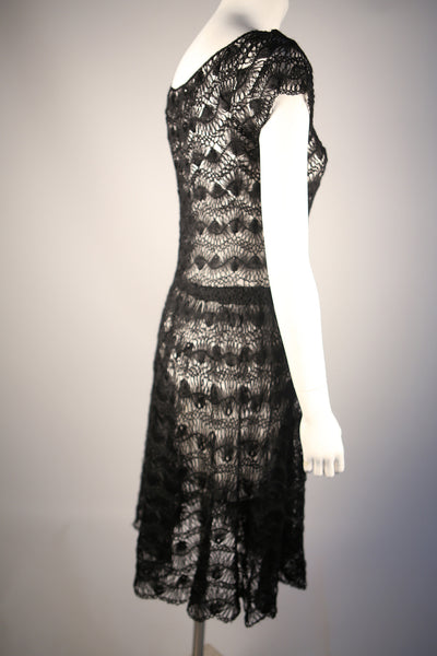 D105 - Couture 1950s Hand-Crocheted Wool Dress
