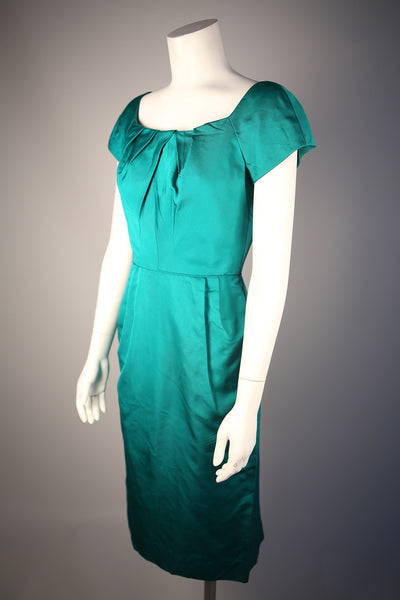 D107 - Emerald Green Silk Faille Cocktail Dress