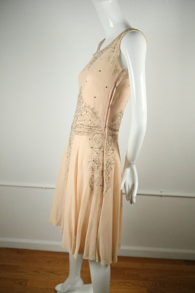 D143- 1920s Peach Art Deco Dress