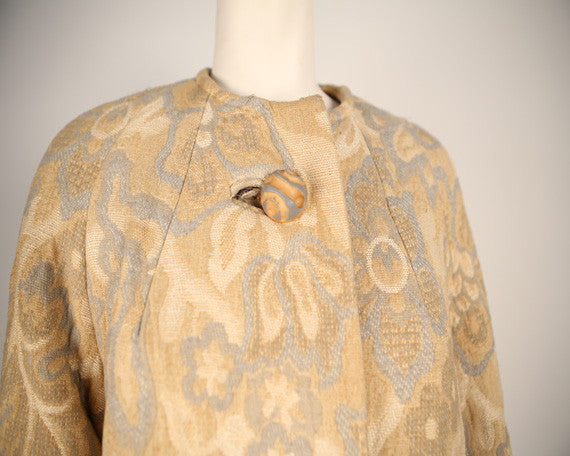 C145- 1960s Original Golet Heavy Wool Jacquard Coat