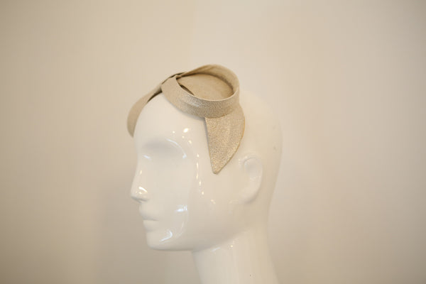 HT003- 60s Chic Silver Lame Bow Hat